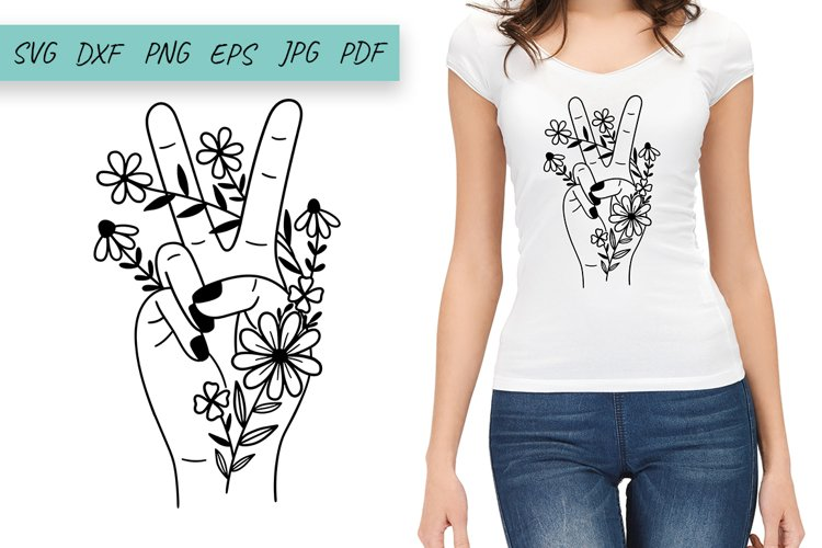 Flower SVG, Peace Sign Hand Svg, Wildflowers Svg, Floral SVG
