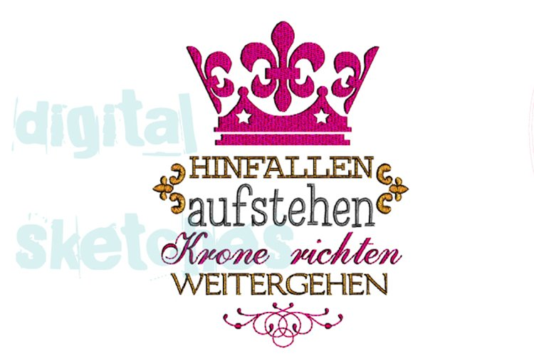 Princess Saying Prinzessin Crown German Crown Embroidery example image 1