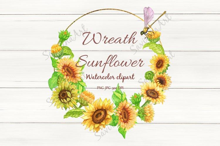 Sunflower bouquet Watercolor clipart, Sunflower wreath. example image 1