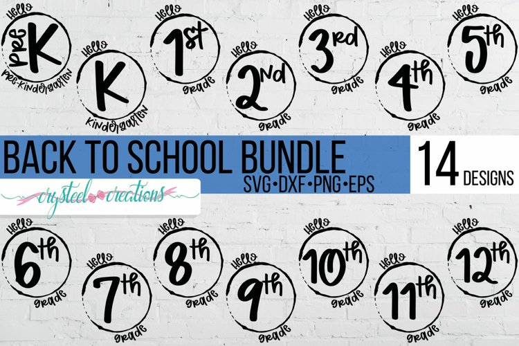 Back to School Hello Bundle SVG, PNG, DXF, EPS