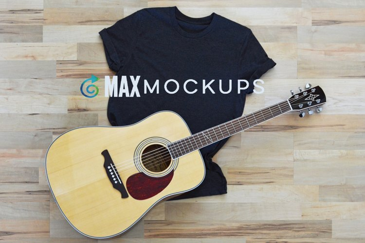 Gray Shirt Mockup With Guitar, Flatlay jpg, Styled Photo