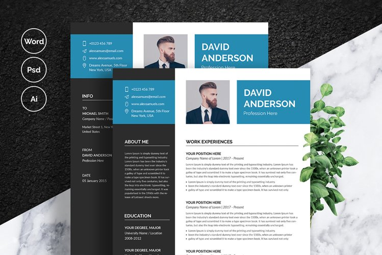 Professional Resume with Cover Letter Template example image 1