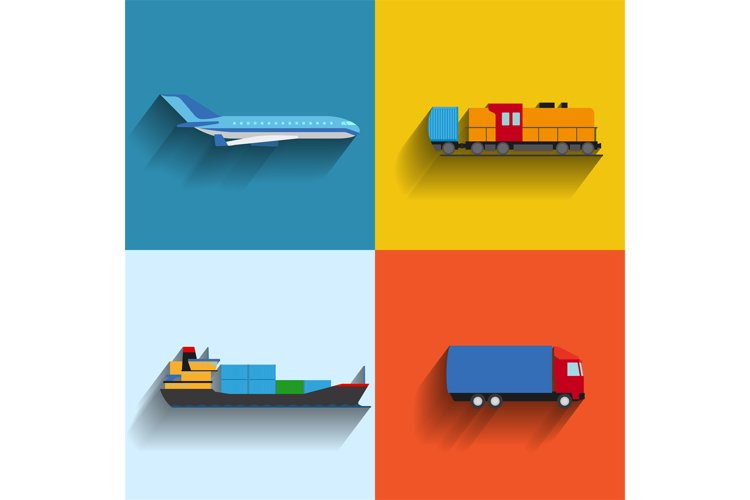 Transportation concept flat icons example image 1