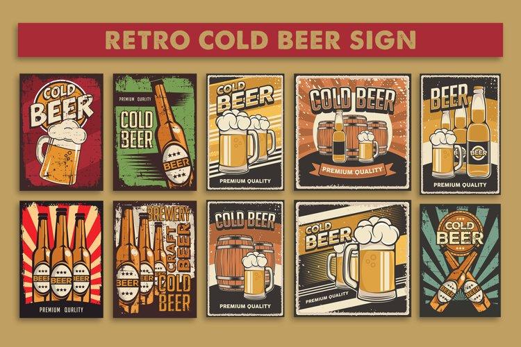 Retro Vintage Cold Beer Sign Poster