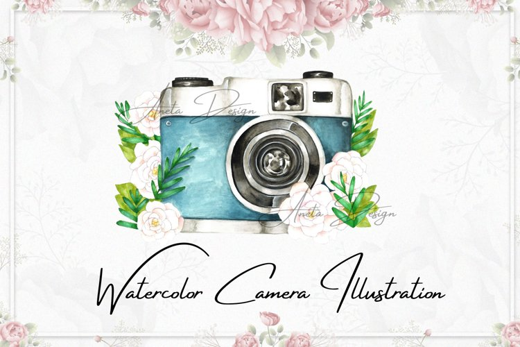 Camera with watercolor flowers clipart, Gift to photographer example image 1