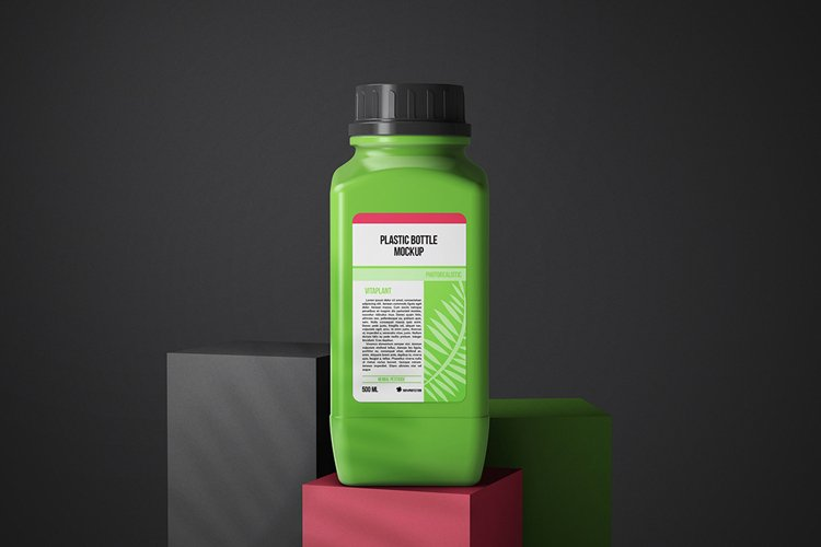 Square Shaped Plastic Bottle Mockup