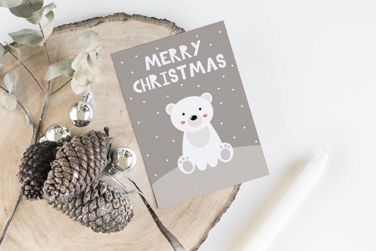 Cute christmas card with little polar bear and lettering