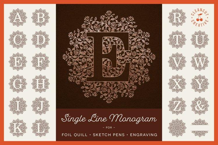 Foil Quill | Single Line | Sketch Mandala Monogram Alphabet example image 1
