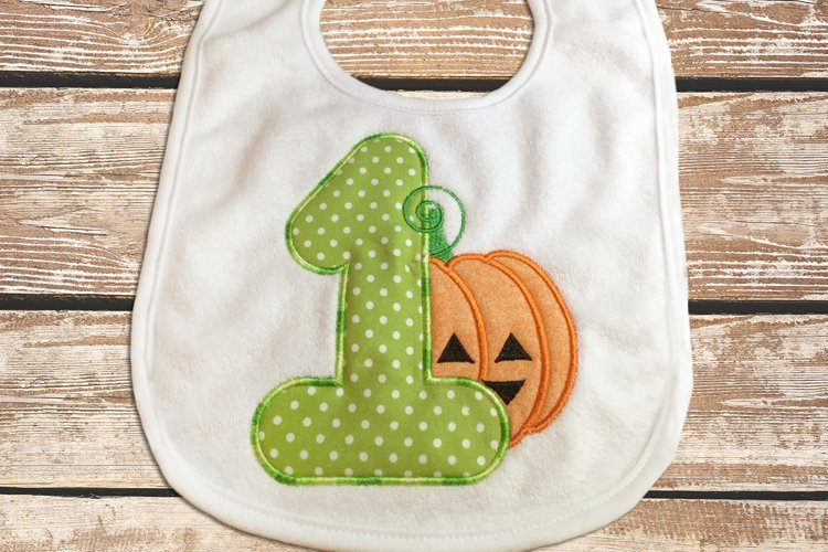 First Halloween Pumpkin Applique Embroidery Design example image 1
