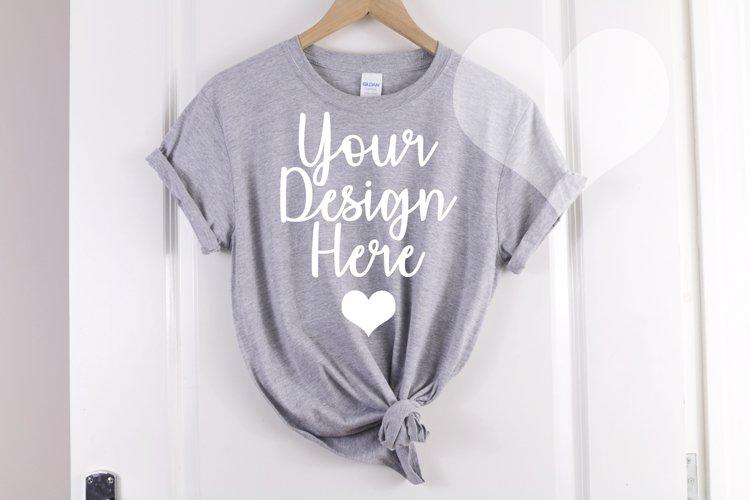 Gildan Mockup 64000 Softstyle Heather Gray Knotted T shirt
