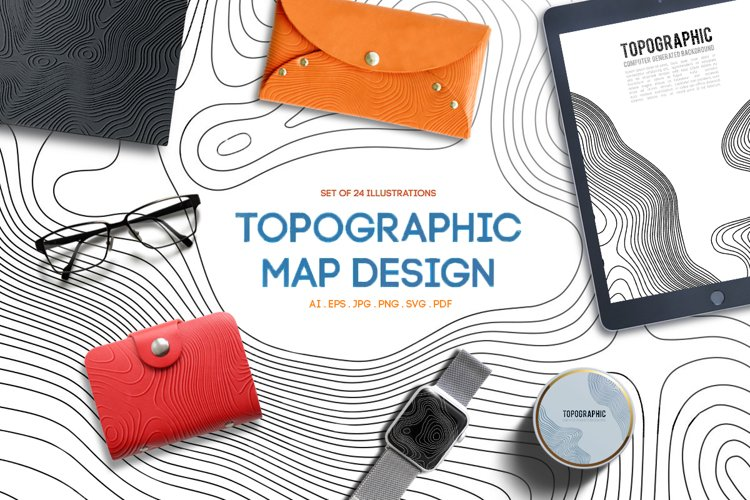 24 Vector Topographic Maps. Paper cut shapes. example image 1