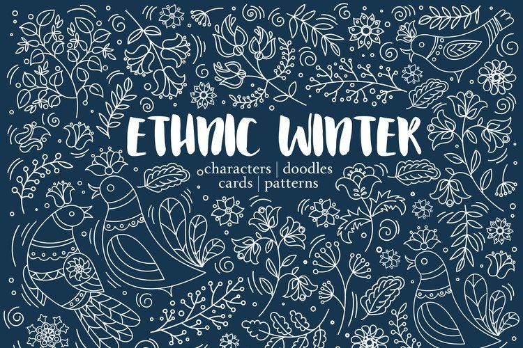 ETHNIC WINTER Folk Ornament Decor Fabric Print Doodle example image 1