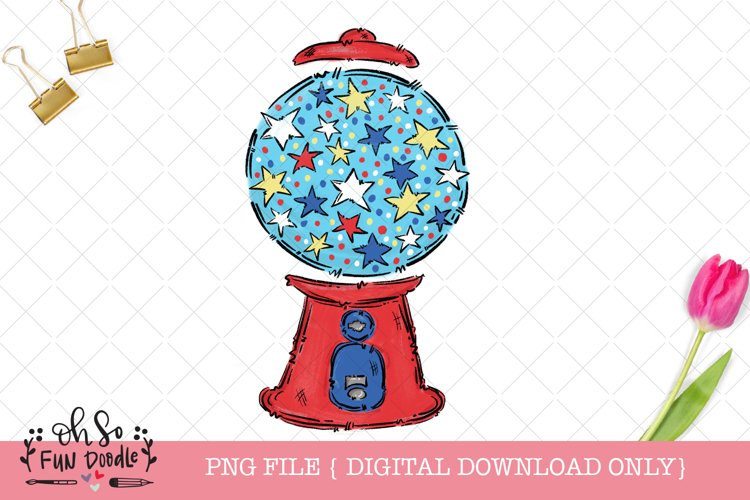 4th of July gum ball machine, sublimation design example image 1