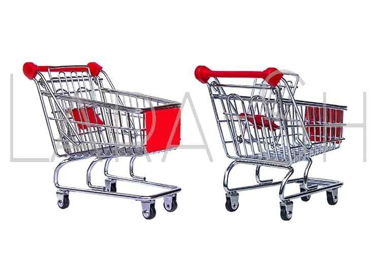 Metal grocery shopping basket, shopping car example image 1