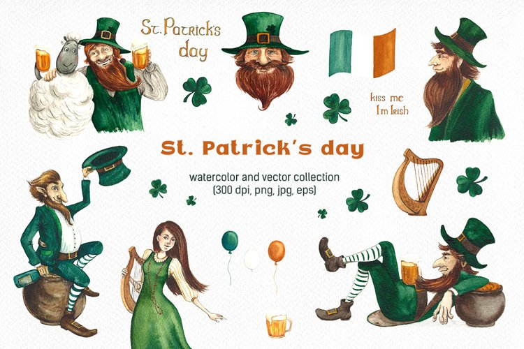 St. Patricks day. Watercolor and vector collection