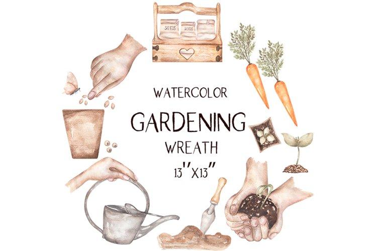 Watercolor Garden Wreath Clipart example image 1