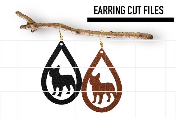 French Bulldog Earrings Svg, Earrings Svg, Teardrop Earrings