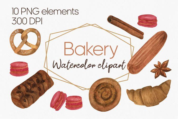 Watercolor bakery clipart set, PNG