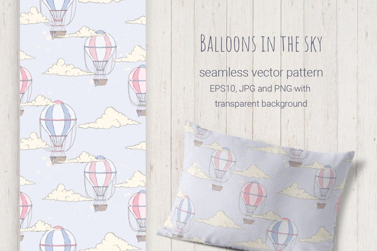 Balloons in the Sky. Vector Pattern