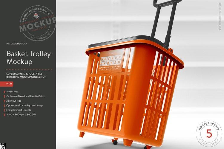 Shopping Rolling Basket / Trolley Branding Mockup