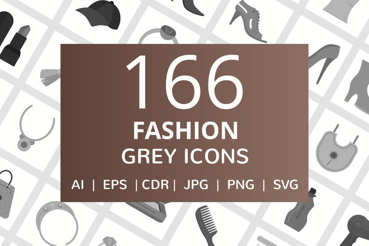 166 Fashion Flat Greyscale Icons example image 1