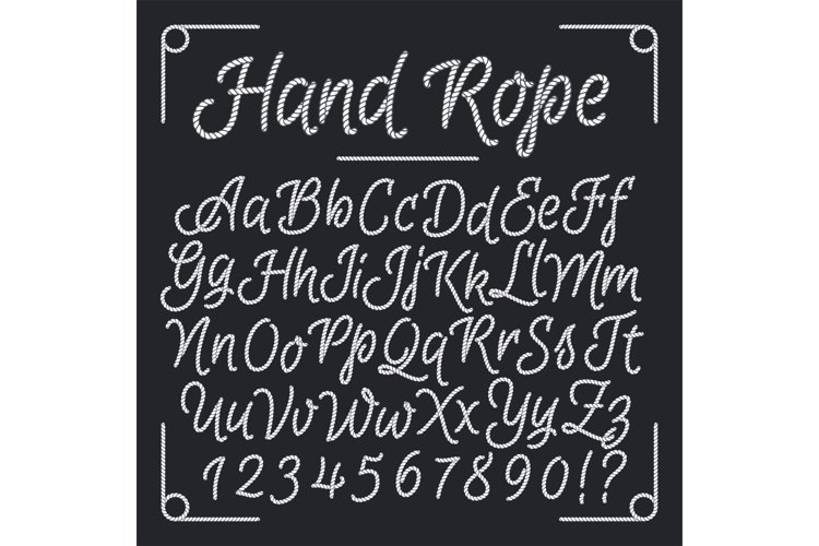 Nautical letters from hand rope. Vector thread alphabet example image 1