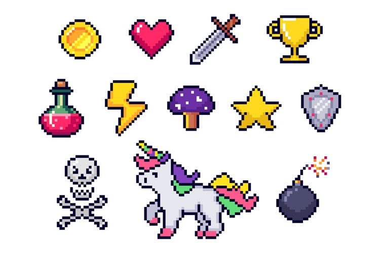 Pixel game items. Retro 8 bit games art, pixelated heart and example image 1