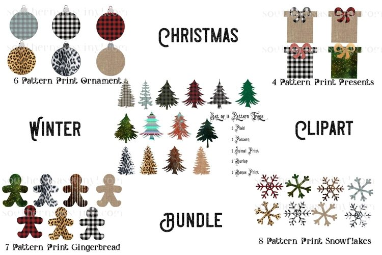 Christmas and Winter Pattern Clipart Bundle example image 1