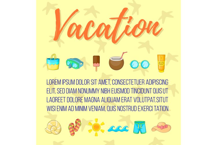 Vacation postcard background concept, cartoon style example image 1