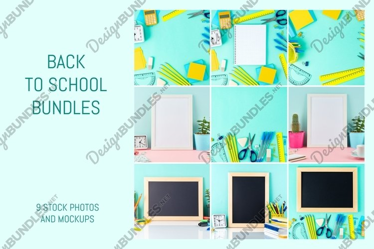 Back to school concept on blue background example image 1