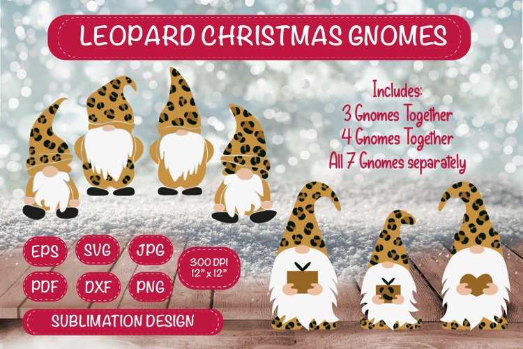 Gnomes SVG Leopard Gnome Bundle. Gnome Sublimation Clipart. example image 1