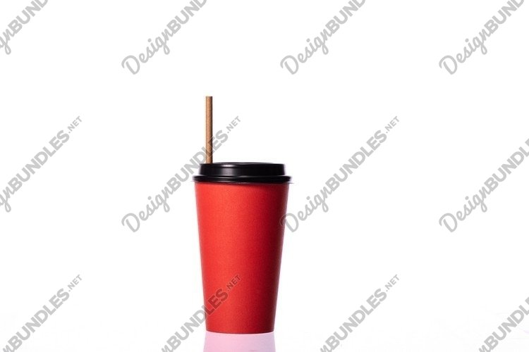 red take away disposable paper coffee cup isolated example image 1