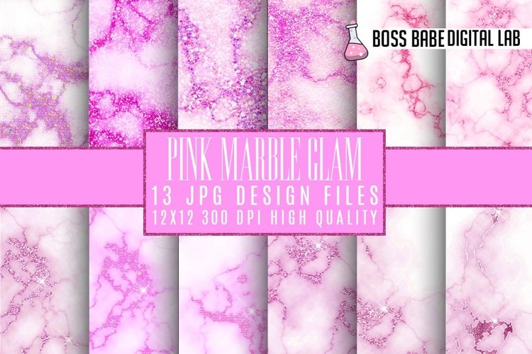 Pink Glam marble digital paper example image 1