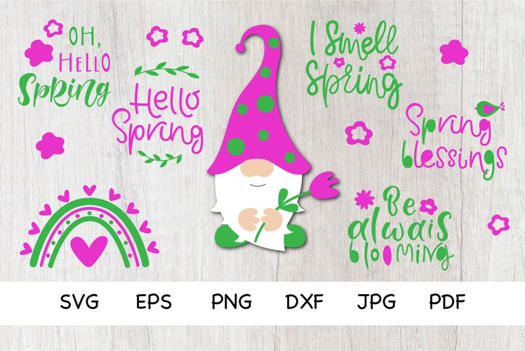 Spring Bundle SVG. Spring Gnomes, Quotes SVG,PNG. Bundle SVG example image 1