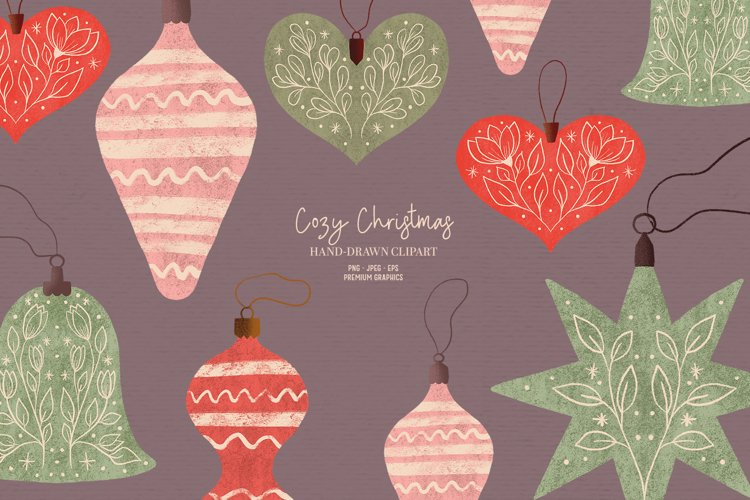 Vintage Christmas clipart | Cozy Holiday clipart ornaments example image 1