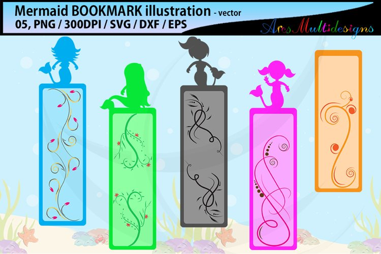 Mermaid bookmark clipart illustration / water girls bookmark example image 1