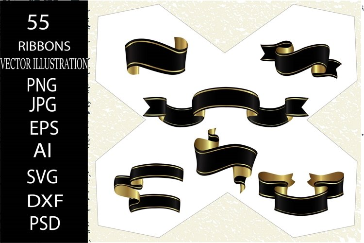 Ribbon. 55 Satin black ribbons set. Vintage, christmas ribbo example image 1