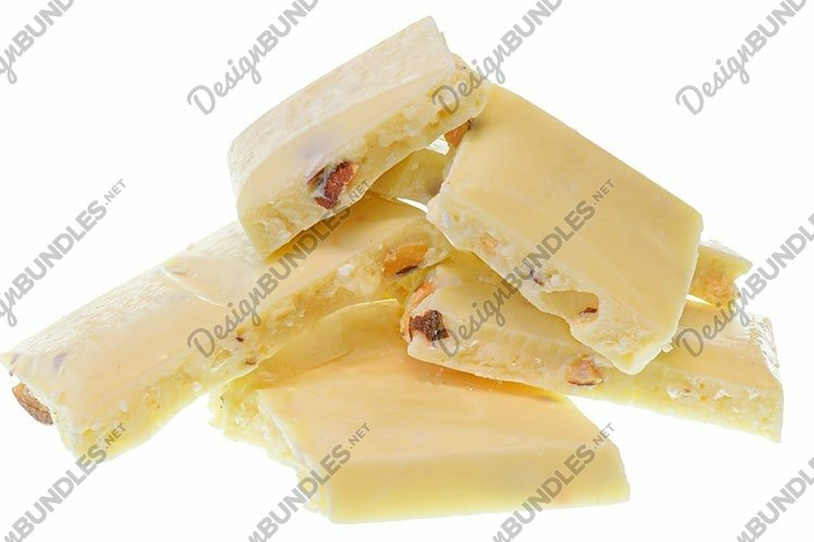 Stock Photo - Broken white chocolate with whole almond nuts