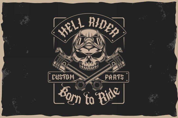 Old Biker. Gothic style vintage label font. example 10
