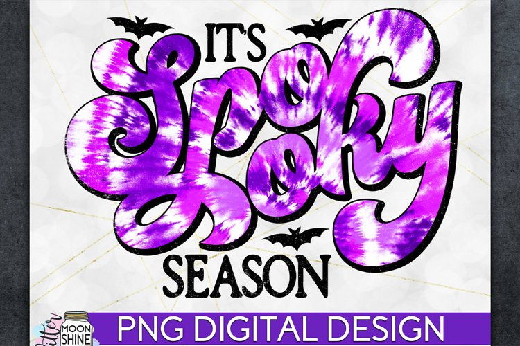 Spooky Season Tie Dye Halloween PNG Sublimation Design example image 1