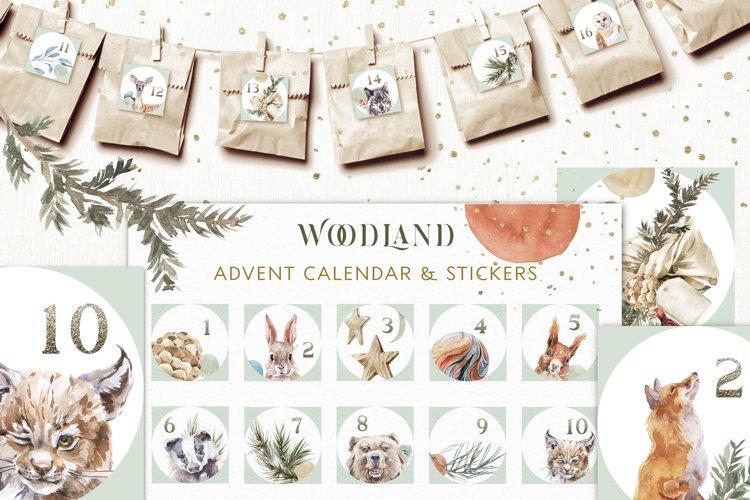 Christmas Watercolor Woodland Advent Calendar & Sticker Pack