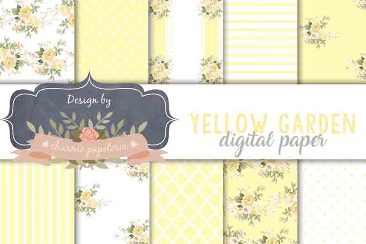 Yellow floral Digital Paper Wedding yellow floral bouquet example image 1