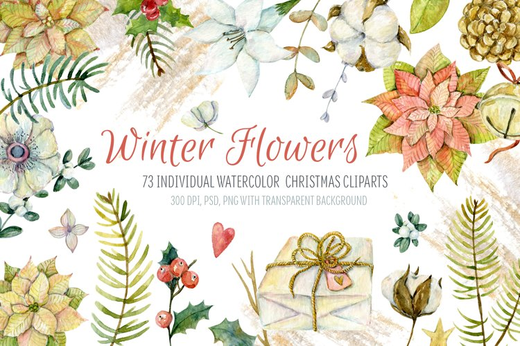 Watercolor cliparts of Christmas elements and flowers example image 1