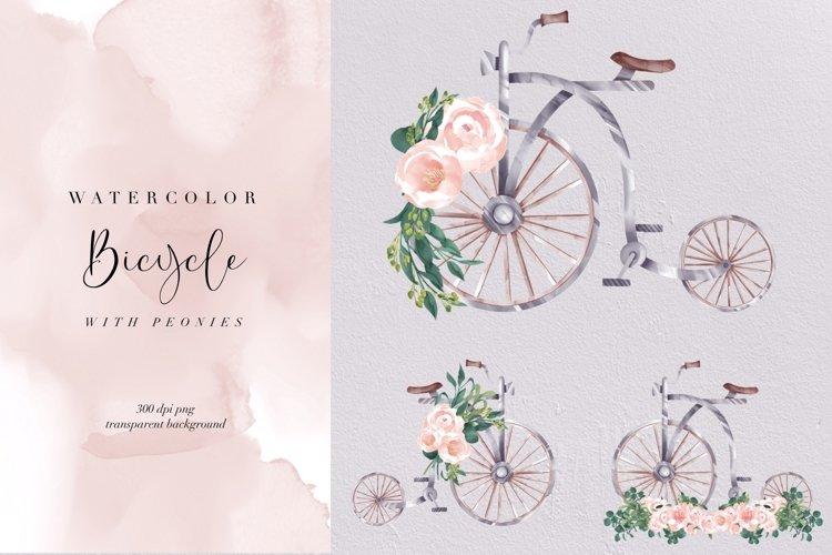 Watercolor Vintage Bicycle with peonies, transparent PNG