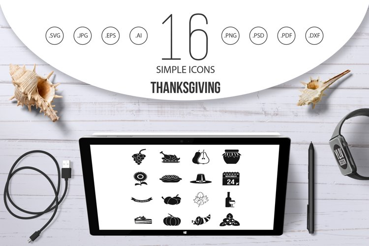 Thanksgiving icons set, simple style example image 1