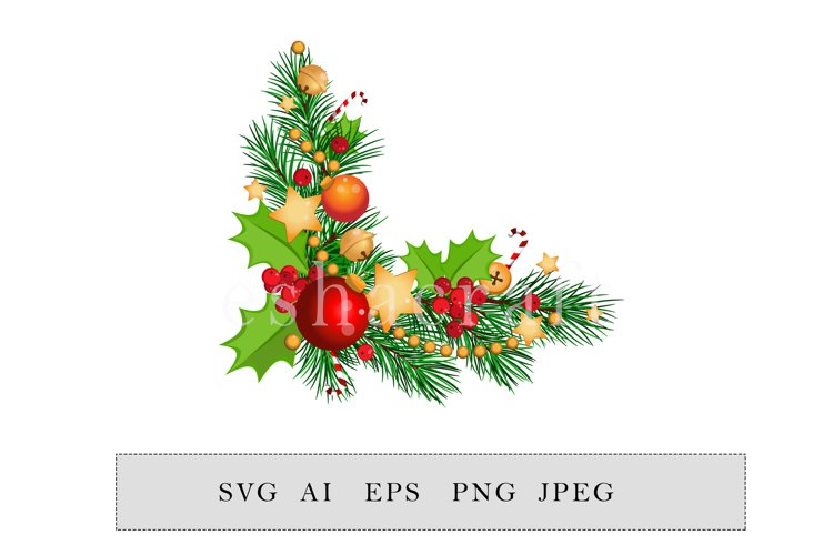 Christmas frame with fir branches, candy canes and garland example image 1