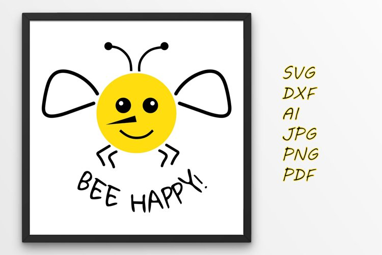 Bee svg Bee happy svg example image 1