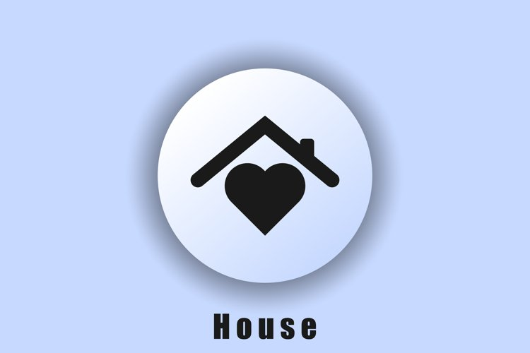House with heart, symbol of the house of love. Stay home. Qu