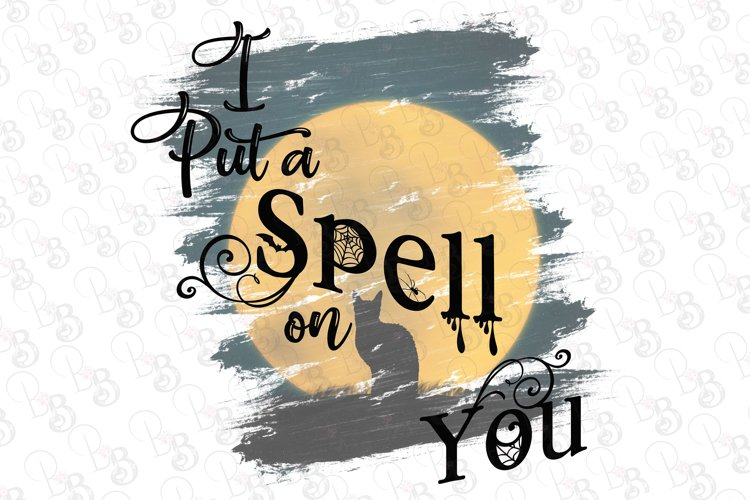 I Put A Spell On You Halloween Full Moon Cat Png example image 1