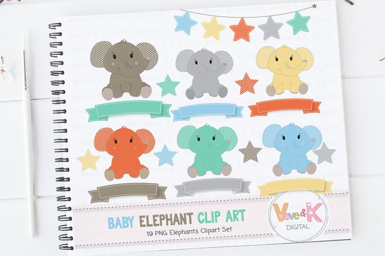 Cute Elephant Clip Art, Elephant Clipart set, Baby Boy Shower, Blue Elephant Clipart, Nursery Scrapbooking, Polka Dot Pattern